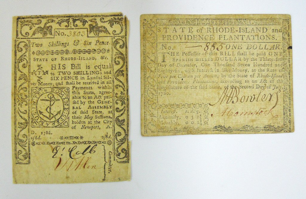 Two 18th C. State of Rhode Island Currency Notes