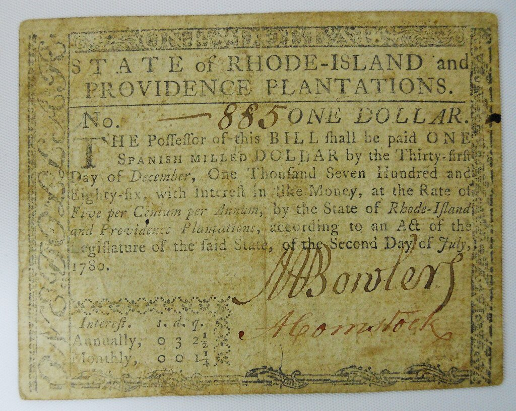 Two 18th C. State of Rhode Island Currency Notes - 2