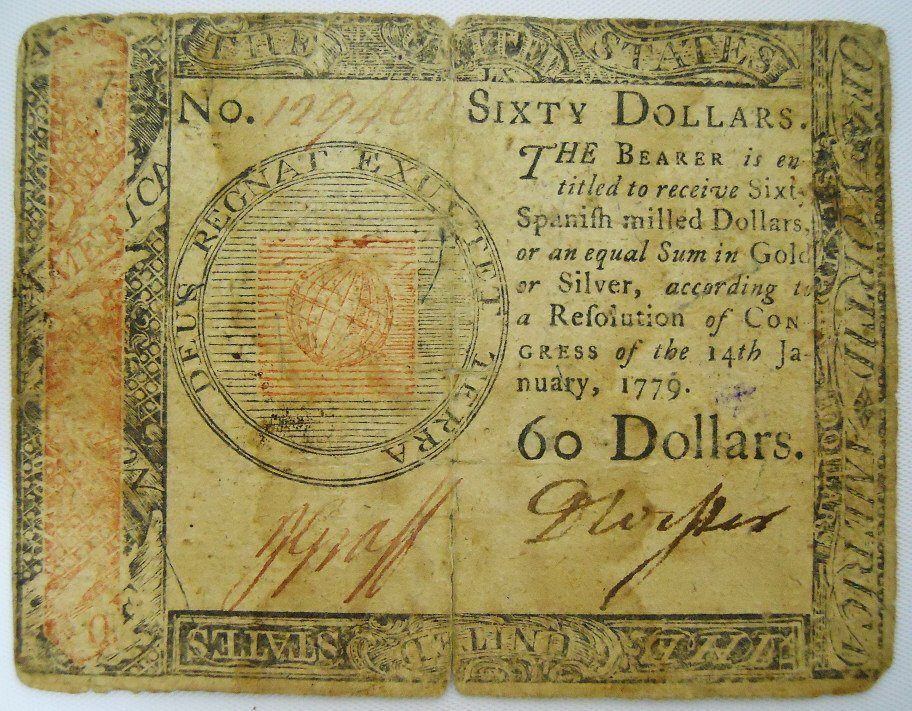 Continental Currency, Sixty Dollar Note, 1779