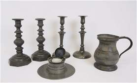 19th C. Pewter Candlesticks, Ink Well, Tankard (6)