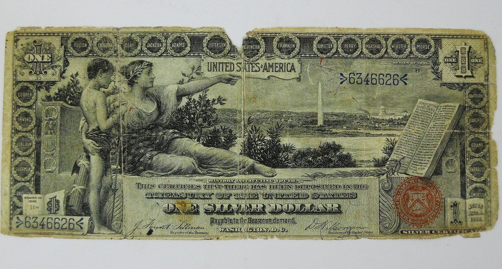 1896 $1 Educational Silver Certificate US Currency
