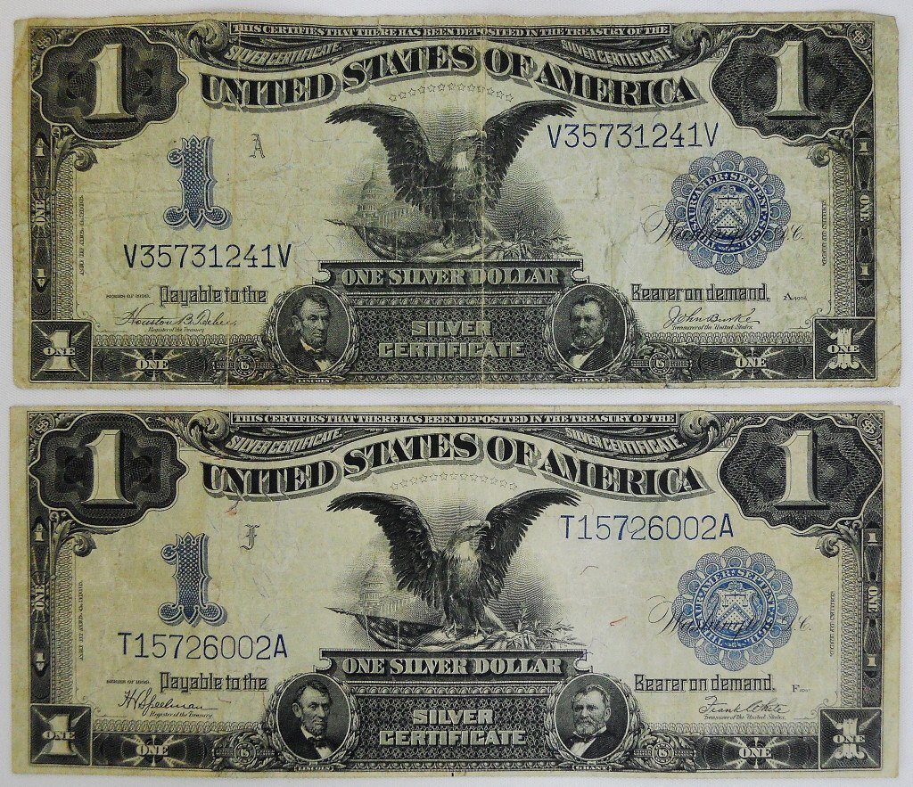 Two $1 Silver Certificates Series 1899 Black Eagle