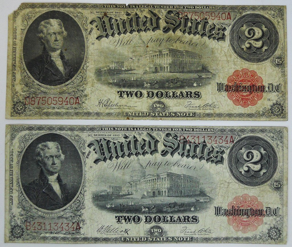 Two $2 Legal Tender Notes, Series of 1917