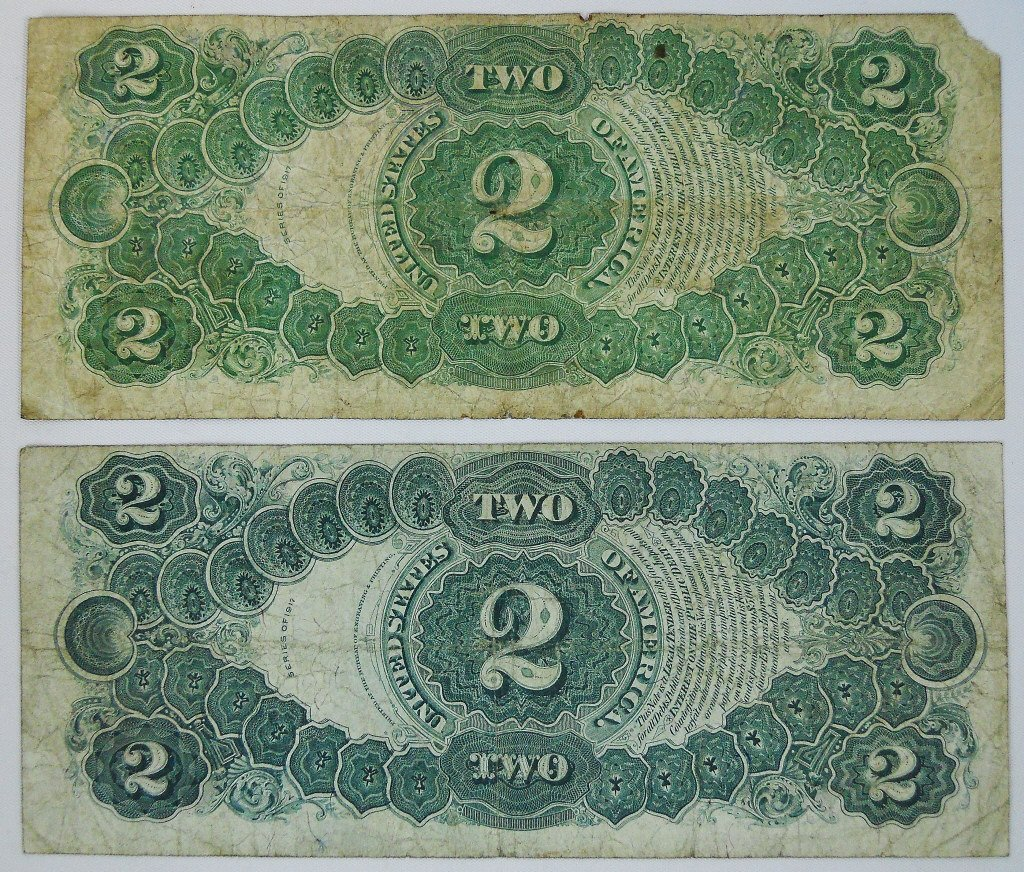 Two $2 Legal Tender Notes, Series of 1917 - 2