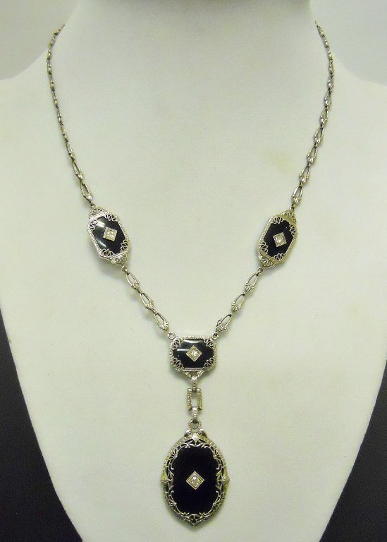 Ladies 14K White Gold Onyx and Diamond Necklace