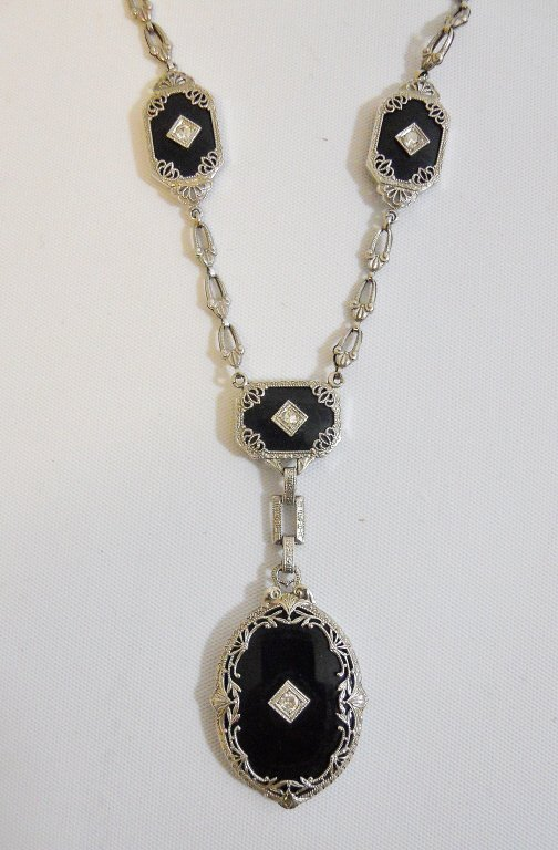 Ladies 14K White Gold Onyx and Diamond Necklace - 2