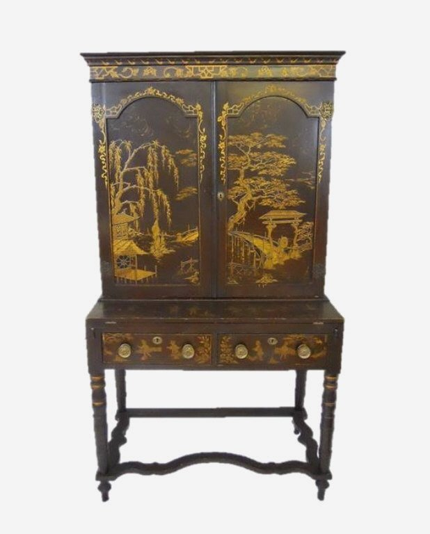 English Chinoiserie Secretary Desk, Circa 1820