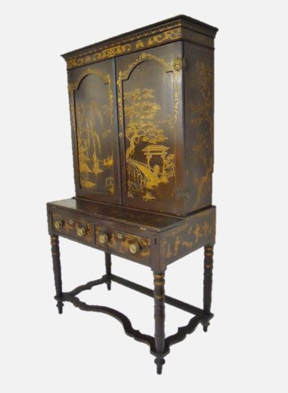 English Chinoiserie Secretary Desk, Circa 1820 - 2