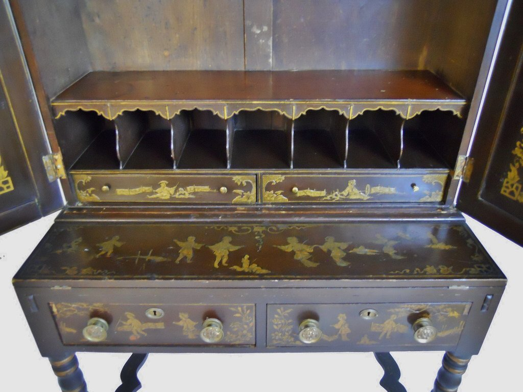 English Chinoiserie Secretary Desk, Circa 1820 - 4
