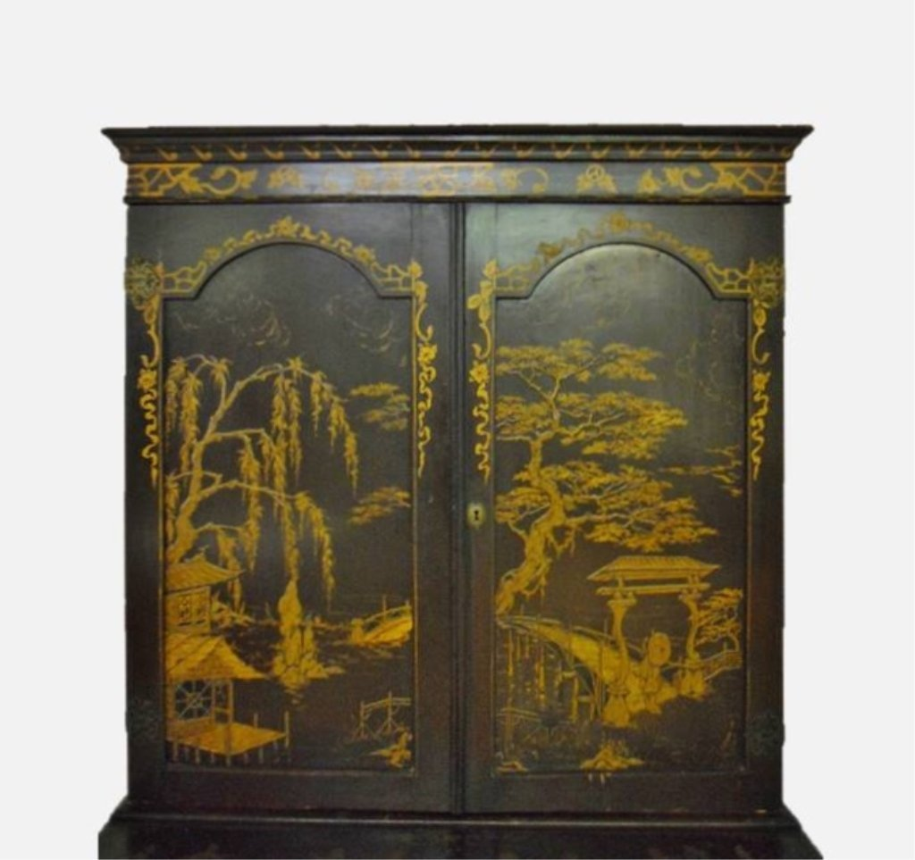 English Chinoiserie Secretary Desk, Circa 1820 - 5