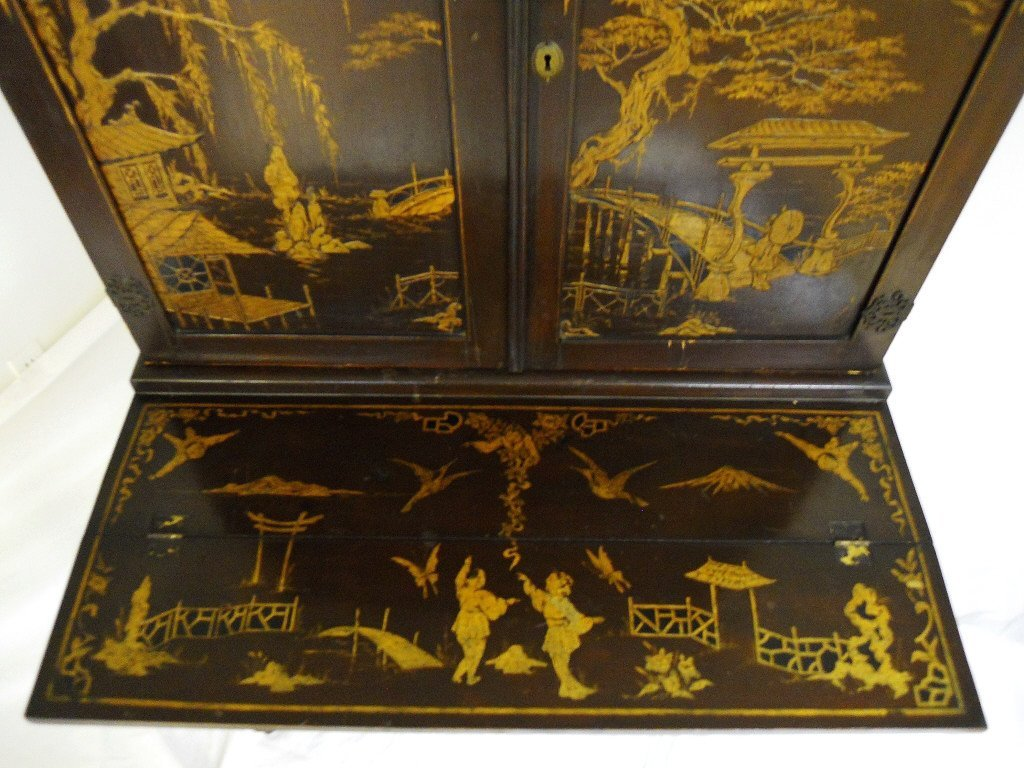 English Chinoiserie Secretary Desk, Circa 1820 - 6