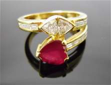 Ladies 18K Gold Ruby and Diamond Ring