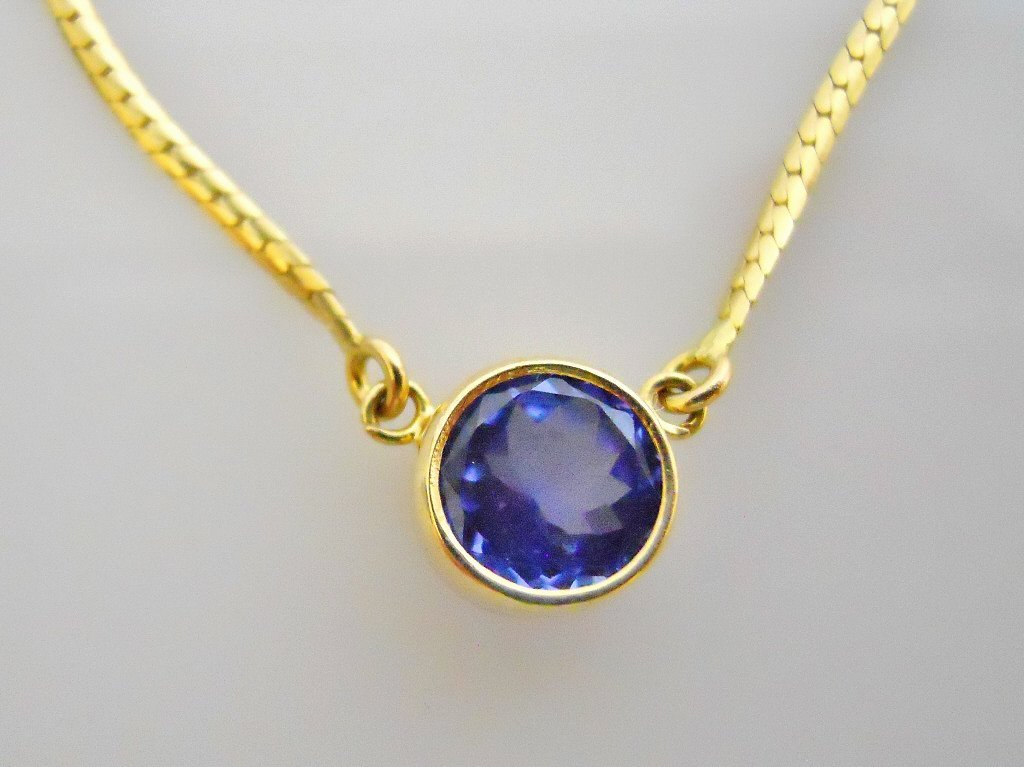 Ladies 14K Gold Necklace, with Faceted Tanzanite