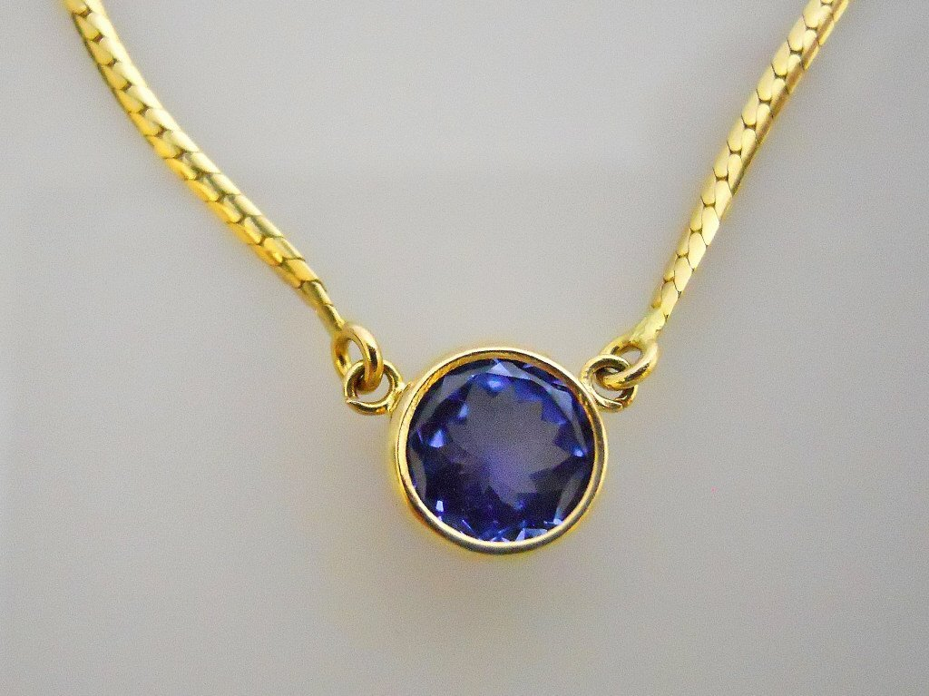 Ladies 14K Gold Necklace, with Faceted Tanzanite - 2
