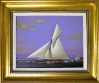 Oil on Canvas GaffRigged Yacht Vernon Broe