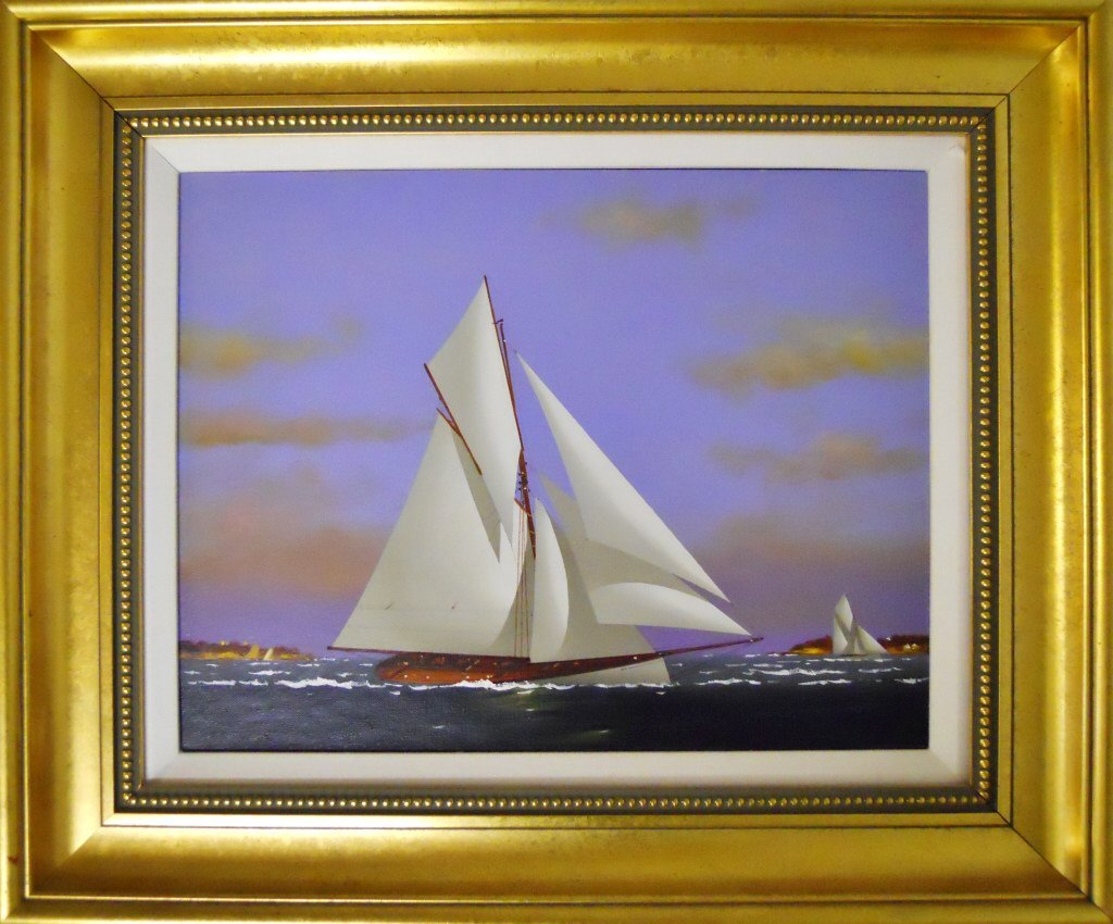 Oil on Canvas, Gaff-Rigged Yacht, Vernon Broe