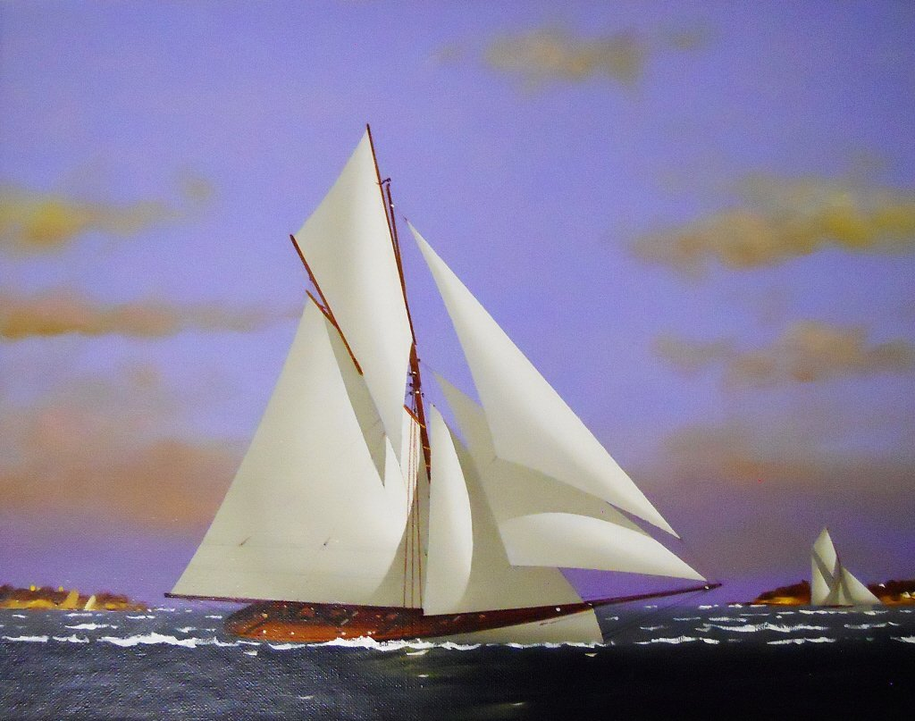 Oil on Canvas, Gaff-Rigged Yacht, Vernon Broe - 2