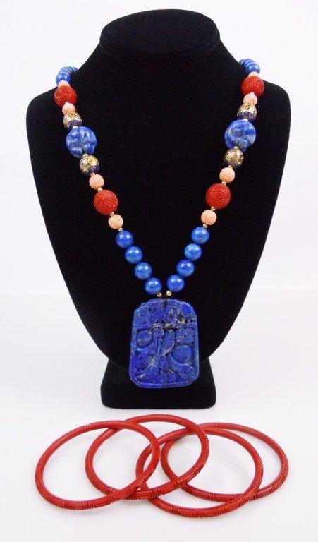Chinese Lapis Lazuli Necklace & Cinnabar Bracelets