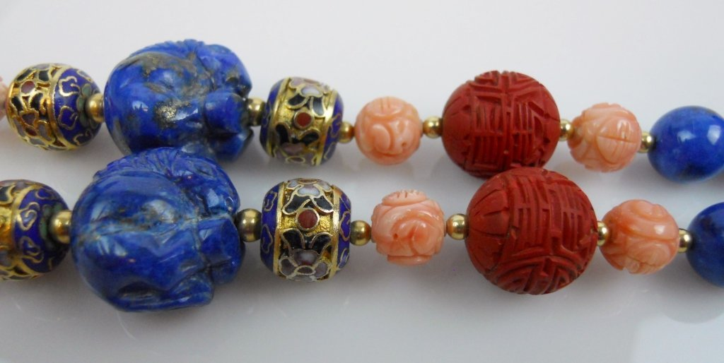 Chinese Lapis Lazuli Necklace & Cinnabar Bracelets - 3