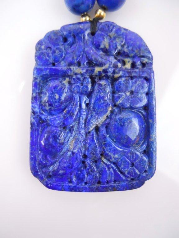Chinese Lapis Lazuli Necklace & Cinnabar Bracelets - 4