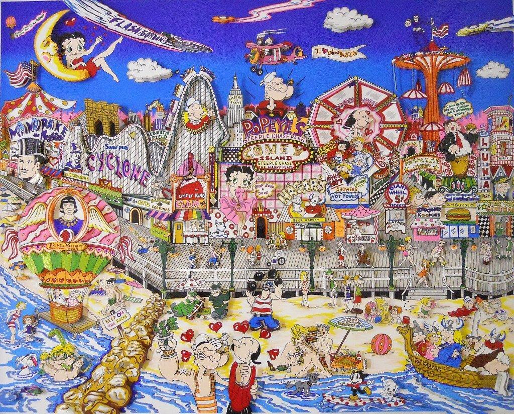 "Silkscreen 3D Serigraph, ""Coney Island"" Fazzino - 2"