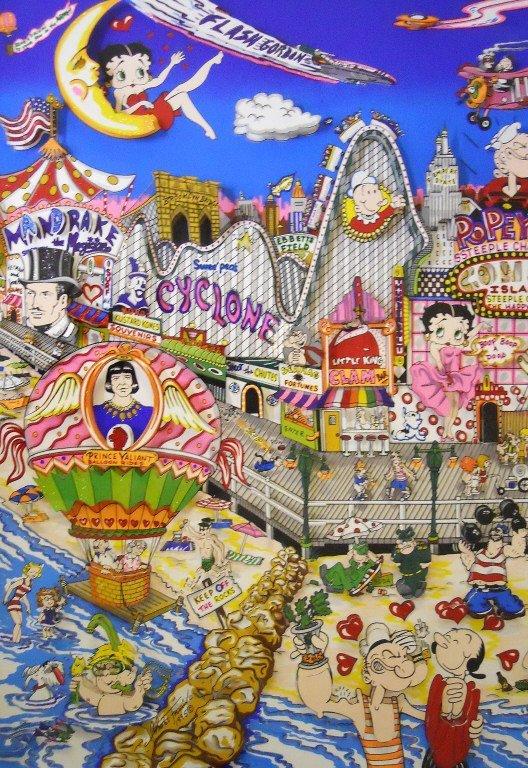 "Silkscreen 3D Serigraph, ""Coney Island"" Fazzino - 3"