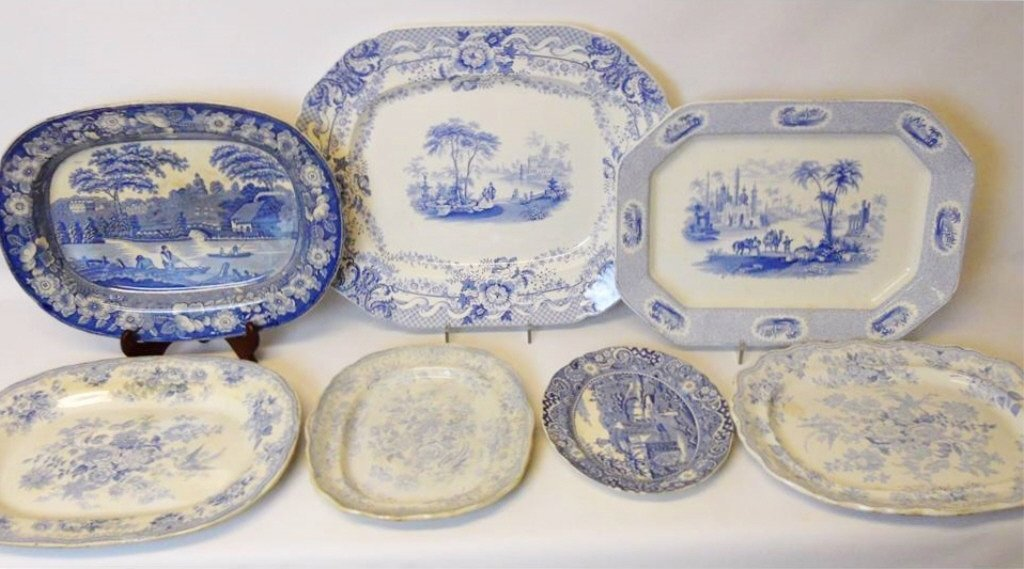 Antique Blue & White Transferware Platters (7pcs)