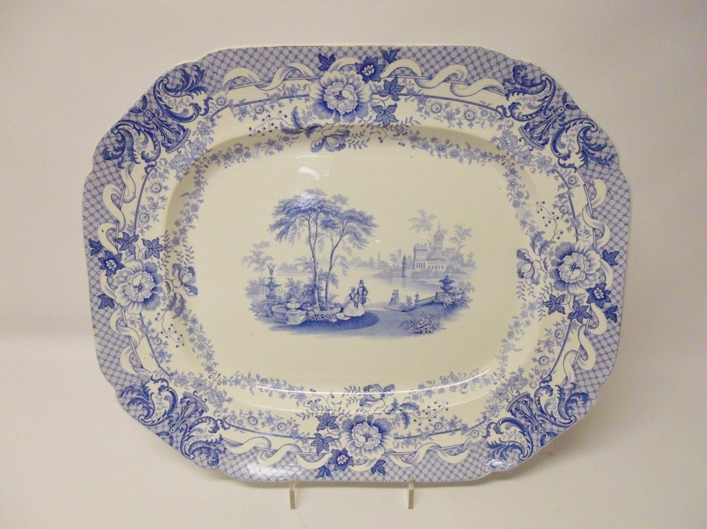 Antique Blue & White Transferware Platters (7pcs) - 3