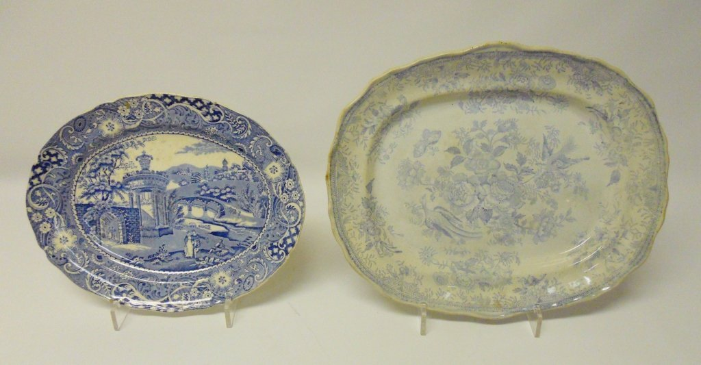 Antique Blue & White Transferware Platters (7pcs) - 5