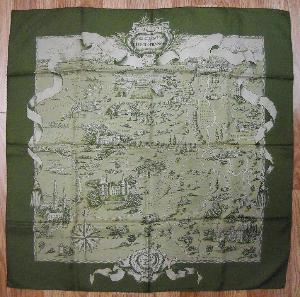 Hermes Le Chemins de L'ile de France Silk Scarf