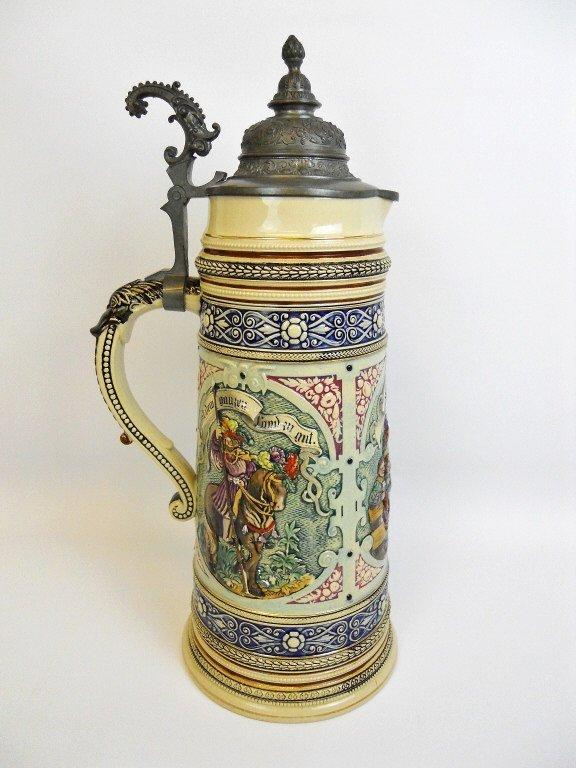 Antique Lidded German Master Beer Stein