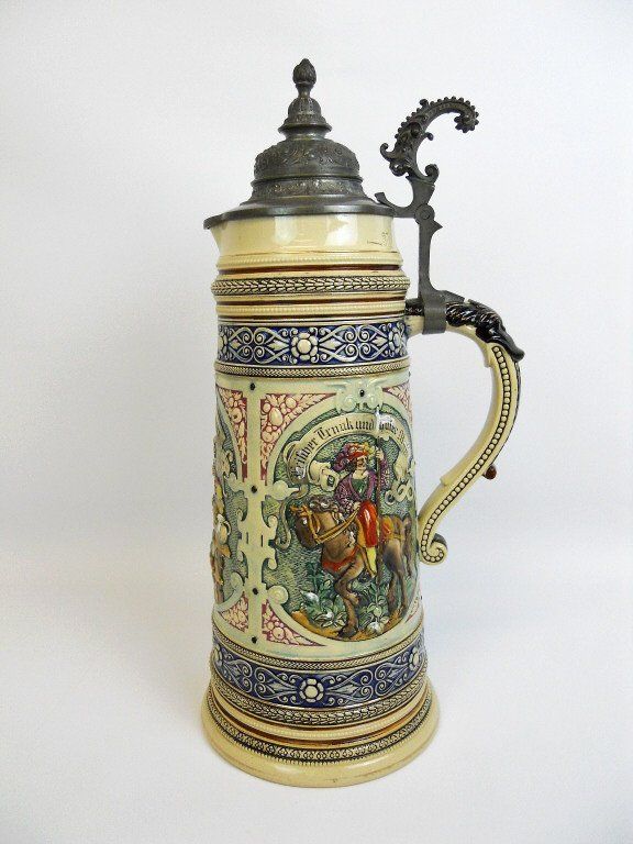 Antique Lidded German Master Beer Stein - 2