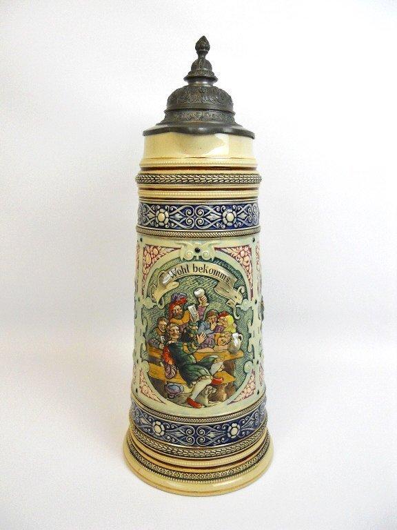 Antique Lidded German Master Beer Stein - 3