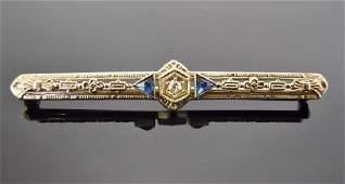 14K Gold, Diamond and Sapphire Art Deco Bar Pin