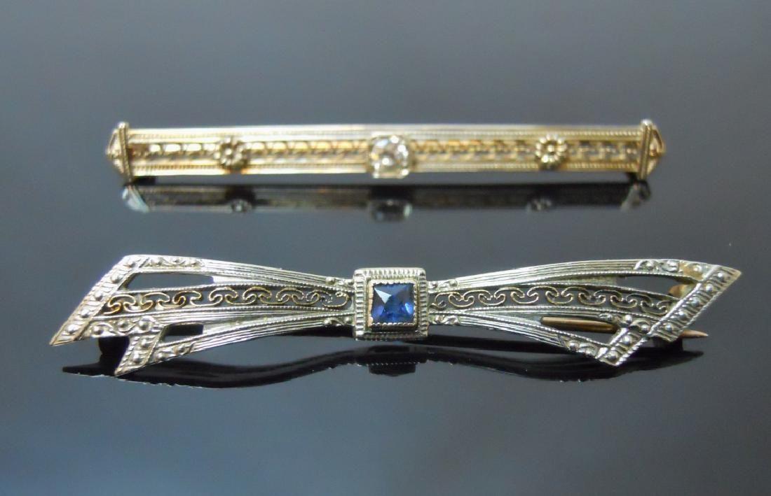 Two 10K Gold  Art Deco Bar Pins