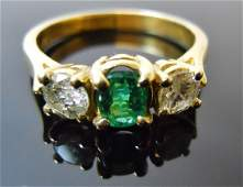 Ladies 14K Gold Diamond and Emerald Ring