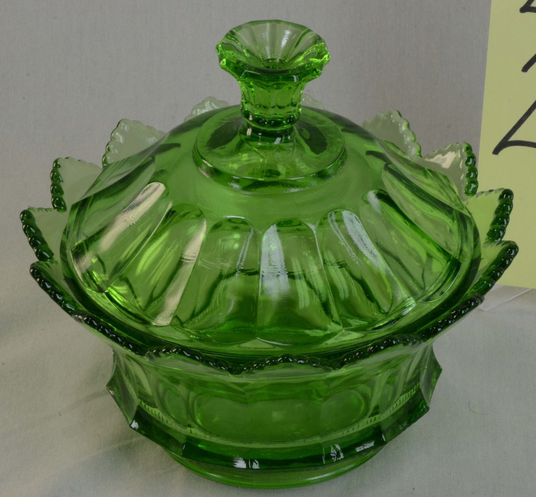Fenton Green Glass Covered Candy Dish Round Signed
