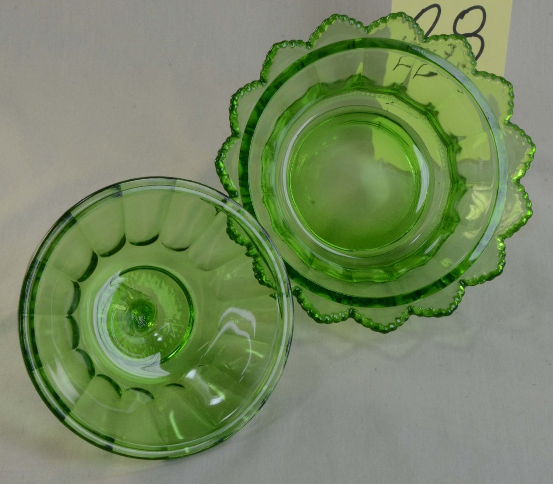 Fenton Green Glass Covered Candy Dish Round Signed - 2