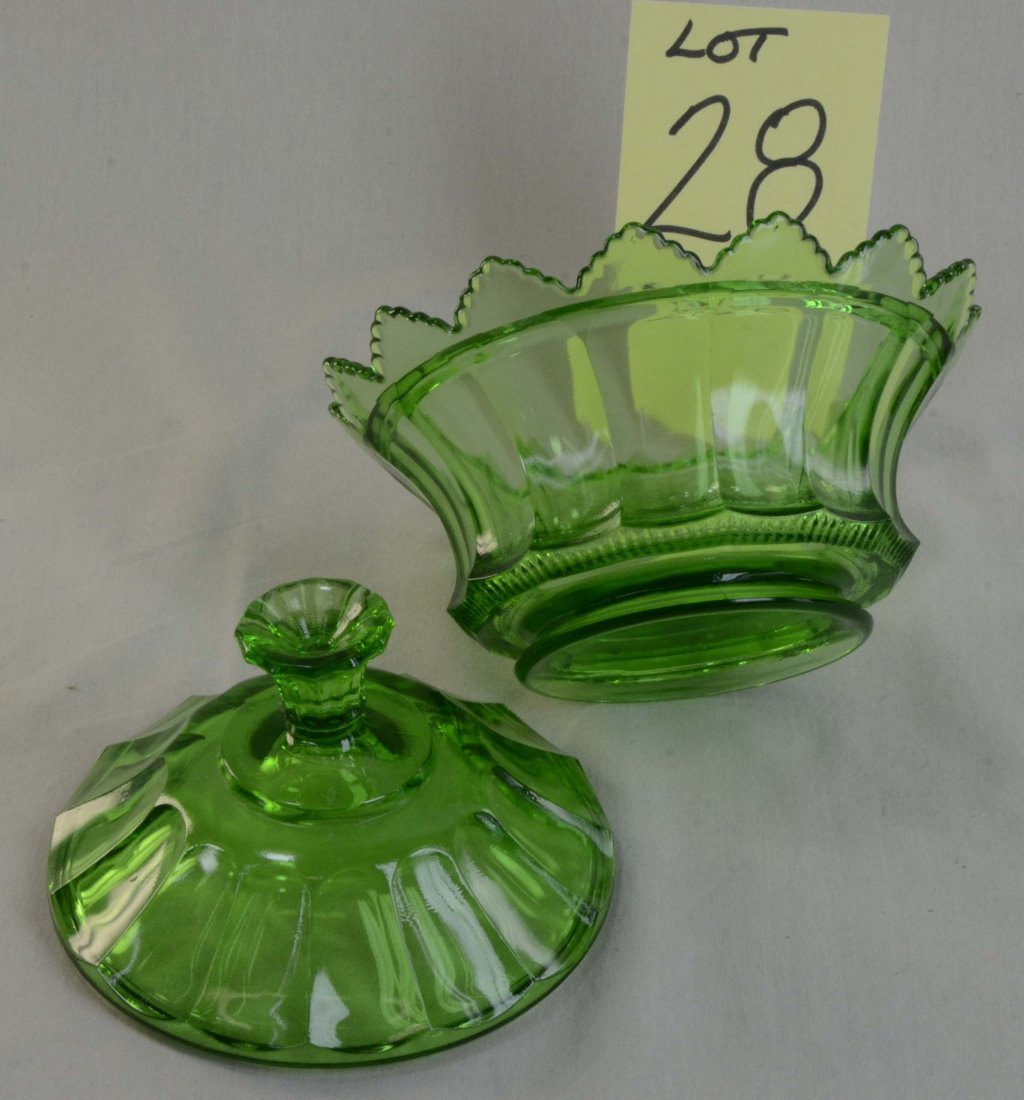 Fenton Green Glass Covered Candy Dish Round Signed - 3