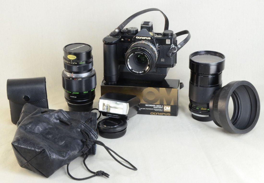 Olympus OM2 Camera w/Lens Motor Drive &Recrdr Back