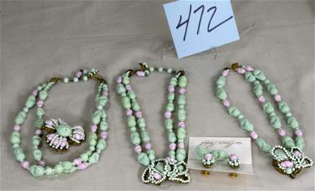 Miriam Haskell 5 Pc Parure Green Pink Glass Set
