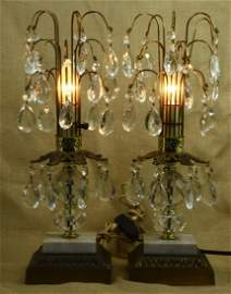 Pr 1930s CRYSTAL PRISMS WATERFALL TABLE LAMPS