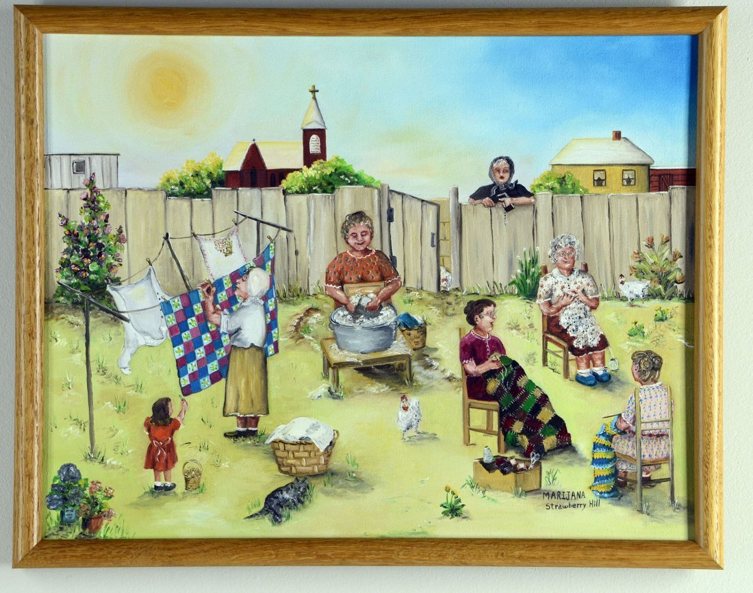 Busy Hands  Marijana Grisnik  Oil Framed Original