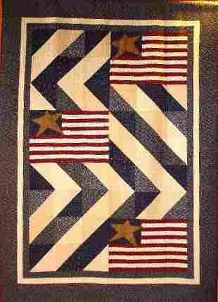 """""""STARS & STRIPES"""" twin size quilt with country cream"""