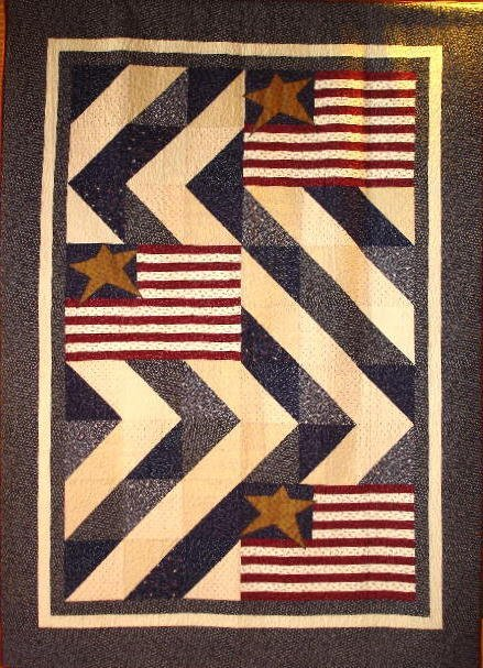 """1: """"STARS & STRIPES"""" twin size quilt with country cream"""