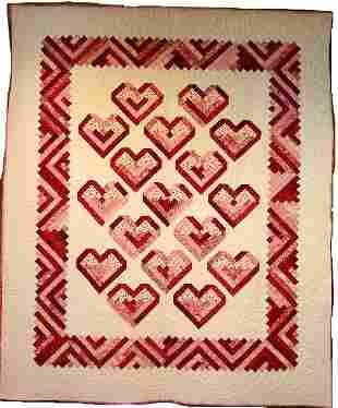 """""""""""PEPPERMINT HEARTS"""" twin and doll size quilts with"""