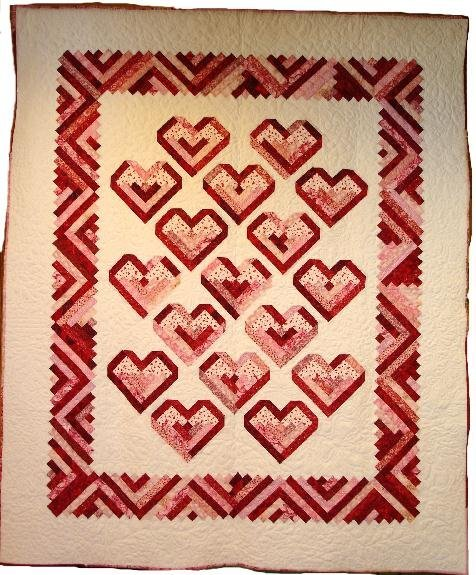 """2: """"""""PEPPERMINT HEARTS"""" twin and doll size quilts with"""