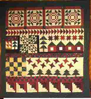 """""""HOUSE IN THE WOODS"""" wall hanging sampler quilt in s"""