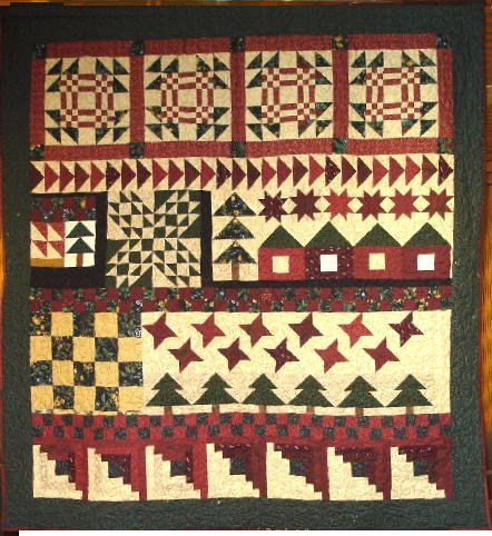 """5: """"HOUSE IN THE WOODS"""" wall hanging sampler quilt in s"""