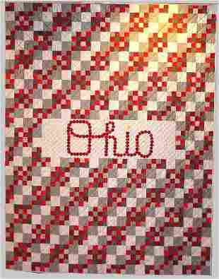 """""""SCRIPT OHIO"""" twin size Ohio State quilt in scarlet"""